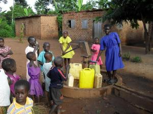 Water has to be collected from the borehole several times a day