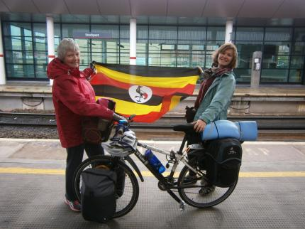 9.50am 6th May 2015 Gem at the start of her Berlin and Back by Bike for St James challenge