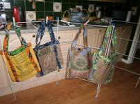 Shopping bags made by re-using Uganda sugar sacks and beautifully lined with matching trim. Suggested donation £5