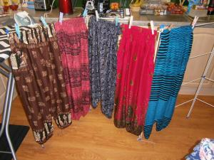 Comfy Bohemian style pants to relax in. Elasticated waist and bottoms. One size fits all! Suggested donation £13