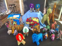 Soft toy African animals big £6, medium £5, small £1.50. Plus a beautiful Noah's Ark containing Noah and his wife along with eight animals. Only one left! £20