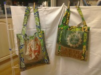 Esther's bags. Shopper made from recycled sugar sacks, fully lined. Ideal to replace the throw-away plastic carrier bag! £5