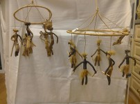 Mobiles made of banana fibre. Small, people doing everyday chores. Large, dancers. £7