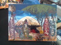 Village scene in acrylic paint £10
