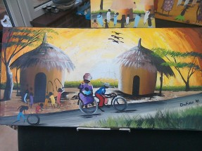 Village scene with loaded bike £20