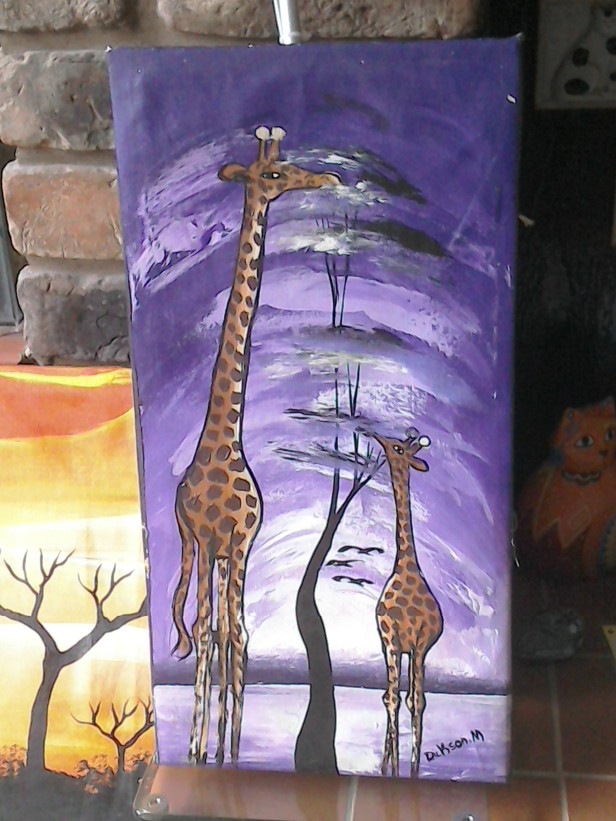Giraffe, purple background £15