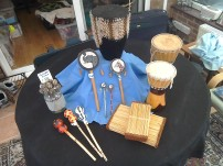 Drums £10 & £8. Rectangular & ball shakers £3. Twiddle drums £3 & £2.50. Tiny £1.50