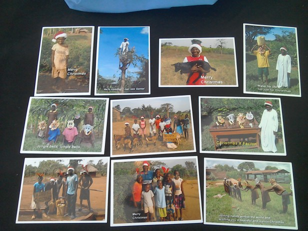 Uganda Happy Christmas card selection 'B' close-up. Pack of 10 £4. (£3.30 goes to the children in Uganda!)