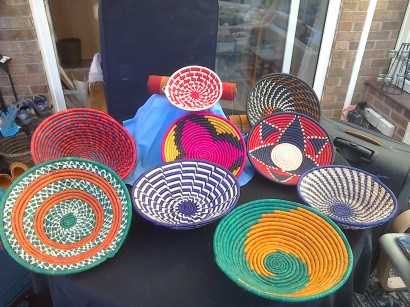 Round baskets various colours big £8, small £4