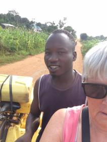 Selfie of Innocent and I on our way to the borehole