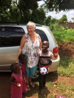 Footballs whatever their size are always a hit with children in Uganda!