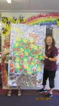 Debbie and I with the Friendship Tree made by members of the Hollies Pre-School Poynton for their new friends in Uganda