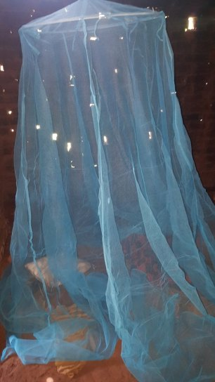 What look like stars through the mosquito net are in fact holes in the roof of Moses home!