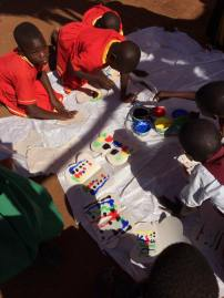 The children were so careful using the paints.