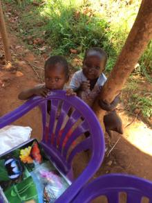 These two are always around me. They are the teachers children.