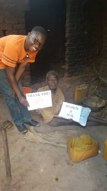 2017 December- Amasa when he first met Moses while delivering mosquito nets. Moses had no trousers and no mattress!