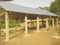 The wide roof on strong termite proof concrete poles.