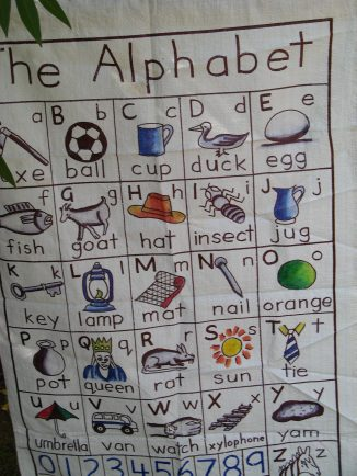 The Alphabet with objects that will be familiar to the Ugandan child