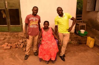 Mum Monica with two of her sons Mike and Bosco who looked after me so well