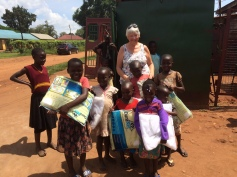 These children were given pens and pencils donated by supporters in the UK