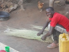 Bosco was making a broom for me to take back to his sponsor James