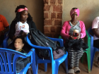 These girls were using dolls to practise hairdressing