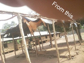 This was the condition of the school hall that doubles as a community church. The rough wood classrooms for the younger children can be seen in the background