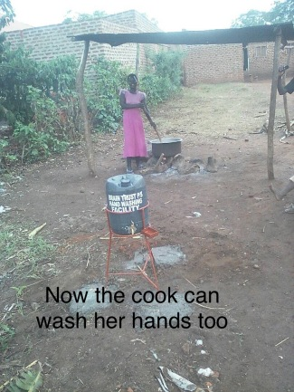 Very important too is for the cook to be able to wash her hands too as she cooks the big pot of maize porridge for all the children and staff