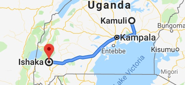 Map showing how far Paul has travelled from his home which is 30 minutes rough drive from Kamuli town